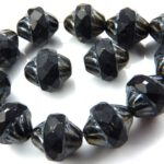 0010459 Jet Grey Iris Facet Turbine Beads 8 Pc.-0