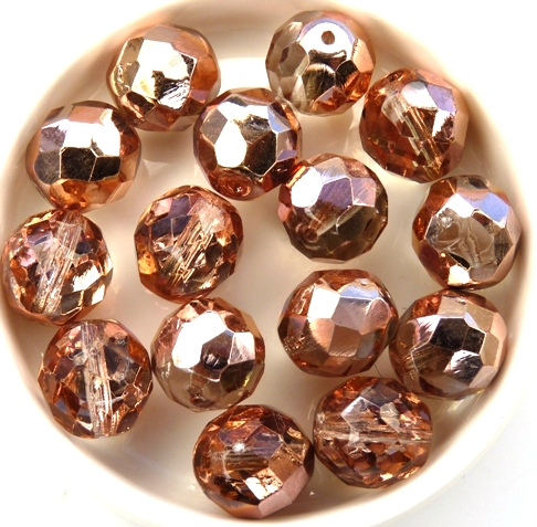 0070313 Crystal Capri Gold Facet 12 mm. 6 Pc.-0