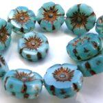 0090245 Silky Aqua Blue Opal Copper Metal, Table Cut Flower 6 Pc.-0
