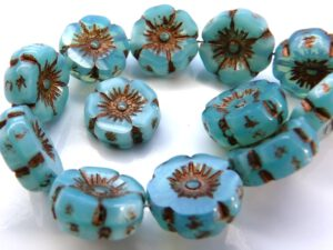 0090245 Silky Aqua Blue Opal Copper Metal, Table Cut Flower 6 Pc.-0