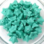 0100014 Opaque Green Turquoise Flower Cup 30 Pc.-0