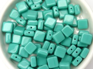 0100024 Opaque Green Turquoise Flat Square 35 Pc.-0