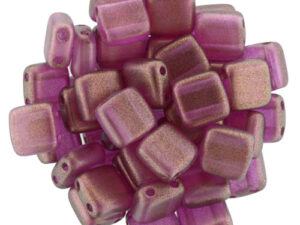 CMT-29260CR CzechMates Tile Bead Halo - Madder Rose 16 Pc.-0