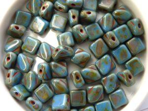 SL-33100-86800 Opaque Sapphire Blue Travertin Silky Beads 30 Pc.-0