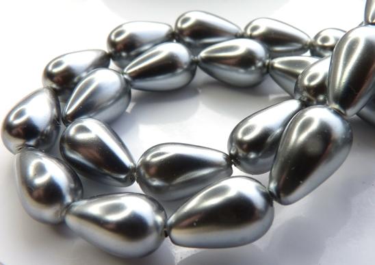 0020066 Silver-Grey Pearl Drop. 12 Pc.-0