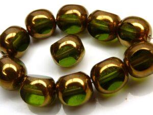 0100413 Olivine met Bronze 3 Cut 10 mm. 6 Pc.-0