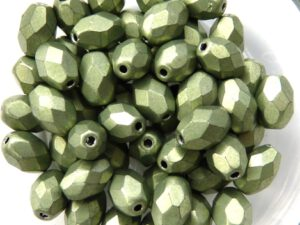 0100450 Metallic Suede Light Olive Green Oval Facet 8 x 6 mm. 15 Pc.-0
