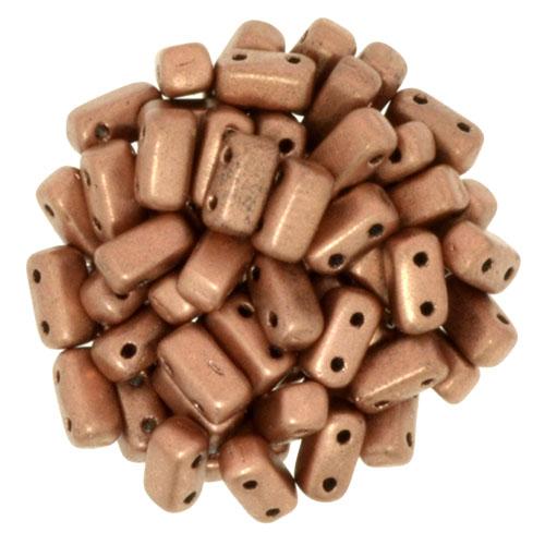 BRI-00030-01770 Matte Metallic Copper Czech Mate Bricks 40 Pc.-0