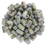 BRI-02010-65431 Opaque Luster Green Czech Mate Bricks 40 Pc.-0