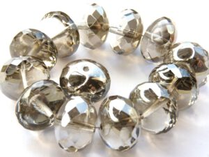 0020292 Crystal Half Silver/Grey Donut Facet 16 mm. 4 Pc.-0