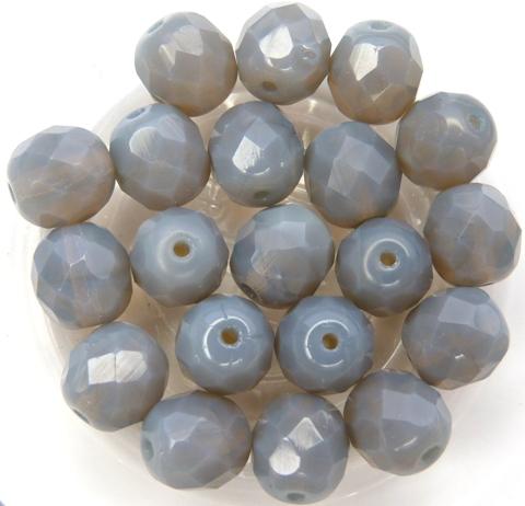 0020230 Opal Grey facet 8 mm. 12 Pc.-0