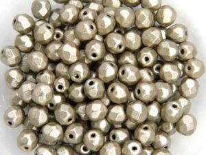 0020287 Metallic Suede Silver Grey facet 4 mm. 50 Pc.-0