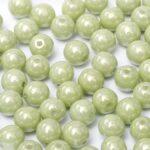 06-R-03000-14457 Chalk Light Green/Mint Luster Round 6 mm. 50 Pc.-0