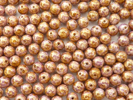 06-R-03000-15695 Chalk Lila Gold Luster Round 6 mm. 50 Pc.-0