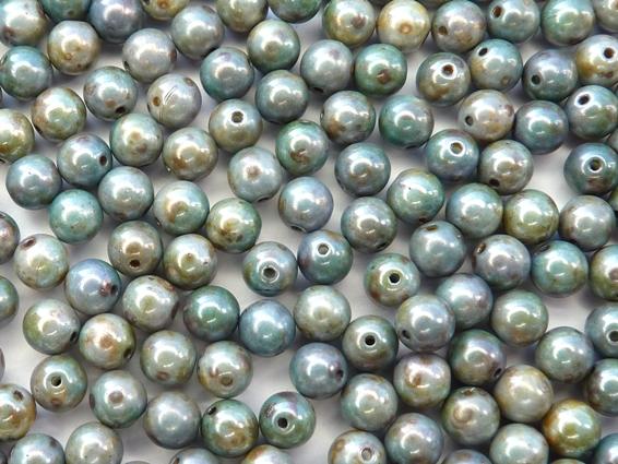 06-R-03000-65431 Chalk Green-Blue Lazure Round 6 mm. 50 Pc.-0