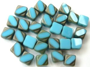 SL-63030-84110-27401-TC Table Cut Silky Bead Opaque Blue Turquoise Matt Chrome 30 Pc.-0