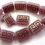 0070036 Opal Pink, Copper Greek design 12 Pc.-0