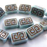0090029 Opaque light Blue Copper design 12 stuks-0