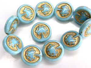 0090034 Opaque Blue Turquoise, Gold decor, Live Tree 10 Pc.-0