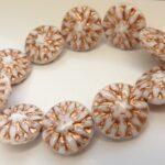 0140070 Opaque White with Copper decor round Bead 10 Pc.-0