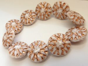 0140070 Opaque White with Copper decor round Bead 10 Pc.-0