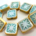 0140071 Opaque White Travertin and Turquoise wax Table Cut square. 5 Pc.-0