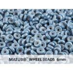 WB-03000-14464 Chalk White Blue Luster Matubo® Wheel Beads Ø 6 mm. 10 gram-0