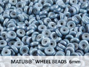WB-03000-14464 Chalk White Blue Luster Matubo® Wheel Beads Ø 6 mm. 10 gram-0
