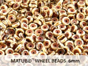 WB-03000-86805 Chalk White Travertin Matubo® Wheel Beads Ø 6 mm. 10 gram-0