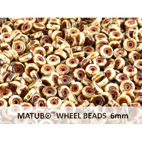 WB-03000-86805 Chalk White Travertin Matubo® Wheel Beads Ø 6 mm. 10 gram-0
