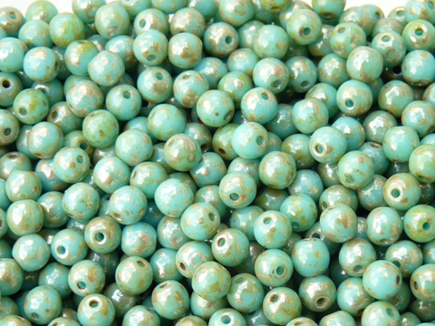 04-R-63030-43400 Opaque Blue Turquoise Silver Travertin, Round 4 mm. 100 Pc.-0