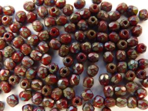 0050243 Opaque Red - Picasso, facet, 4 mm.-9729