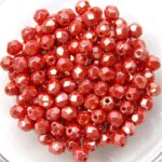 0050256 Luster Opaque Light Red facet 4 mm.-0