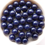 0090007 Opaque Dark Navy Blue Round  8 mm. 22 Pc.-0