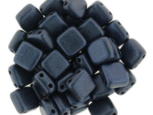 CMT-23980-79032 CzechMates Tile Bead Metallic Suede Dark Blue 25 st.-0