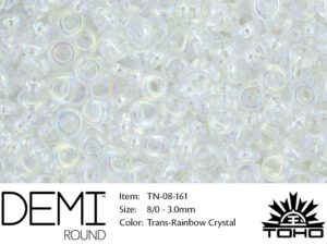 TN-08-0161 Demi Round TOHO: Transparent-Rainbow Crystal-0