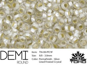 TN-08-PF0021F Demi Round TOHO Perma Finish Silver Linded Frosted Crystal -0