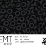 TN-08-0049F Demi Round TOHO: Opaque Frosted Jet-0