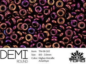 TN-08-0502 Demi Round TOHO: Higher-Metallic Amethyst-0