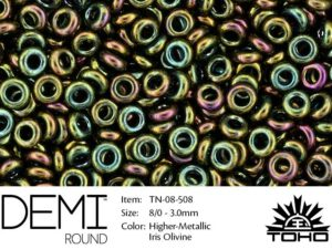 TN-08-0508 Demi Round TOHO: Higher-Metallic Iris Olivine-0