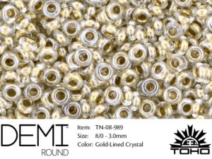 TN-08-0989 Demi Round TOHO: Gold-Lined Crystal-0