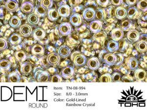 TN-08-0994 Demi Round TOHO: Gold-Lined Rainbow Crystal-0