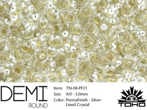 TN-08-PF0021 Demi Round TOHO: Perma Finish Silver Linded Crystal -0