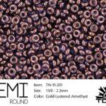 TN-11-0201 Demi Round TOHO Gold-Lustered Amethyst-0