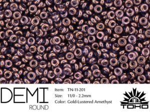 TN-11-0201 Demi Round TOHO Gold-Lustered Amethyst-0