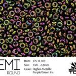 TN-11-0509 Demi Round TOHO  Higher-Metallic Purple/Green Iris-0