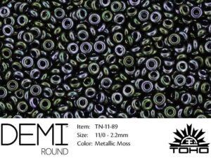 TN-11-0089 Demi Round TOHO Metallic Moss-0