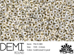 TN-11-0989 Demi Round TOHO Gold-Lined Crystal-0