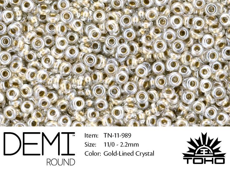TN-11-0989 Demi Round TOHO Gold-Lined Crystal-0