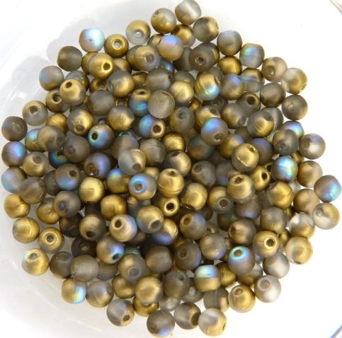 03-R-00030-84100-98536 Crystal Matte Golden Rainbow Round 3 mm. 100 Pc.-0